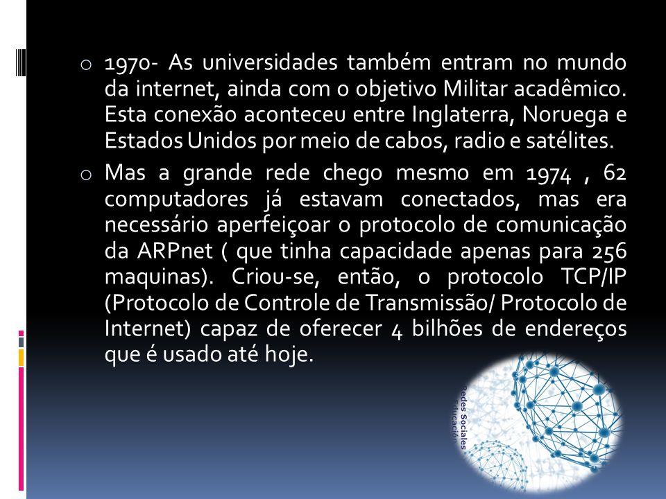 1970- As universidades também entram no mundo da internet, ainda com o objetivo Militar acadêmico. Esta conexão aconteceu entre Inglaterra, Noruega e Estados Unidos por meio de cabos, radio e satélites.