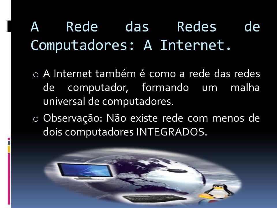 A Rede das Redes de Computadores: A Internet.