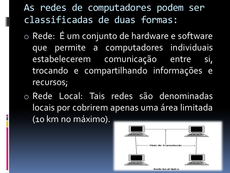 As redes de computadores podem ser classificadas de duas formas: