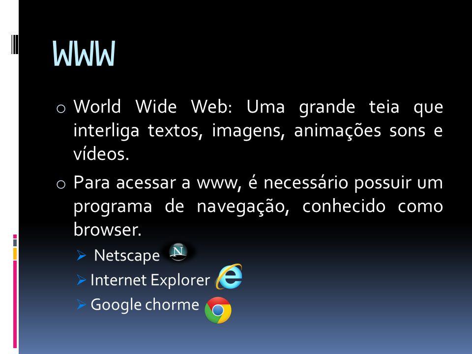 WWW World Wide Web: Uma grande teia que interliga textos, imagens, animações sons e vídeos.