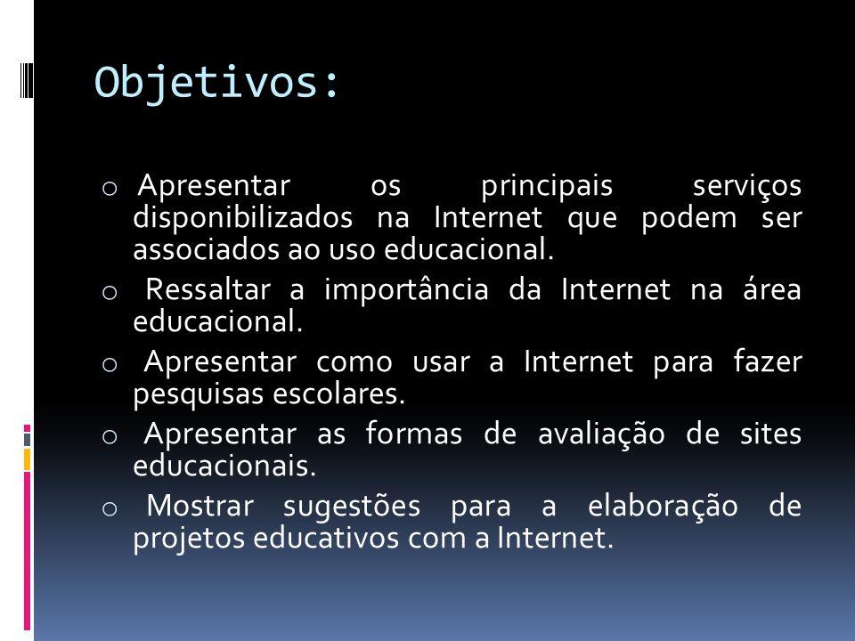 Objetivos: Apresentar os principais serviços disponibilizados na Internet que podem ser associados ao uso educacional.