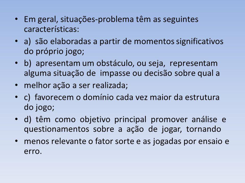 Em geral, situações-problema têm as seguintes características: