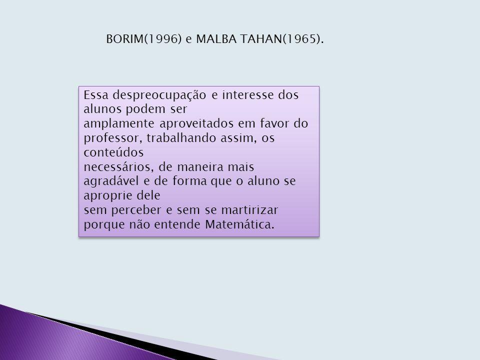 BORIM(1996) e MALBA TAHAN(1965).