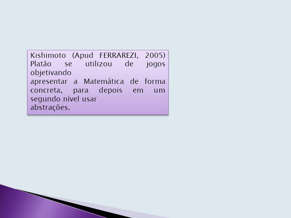 Kishimoto (Apud FERRAREZI, 2005) Platão se utilizou de jogos objetivando