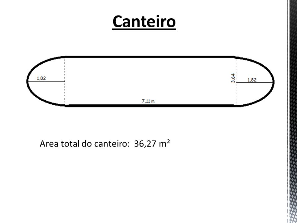Canteiro Area total do canteiro: 36,27 m²