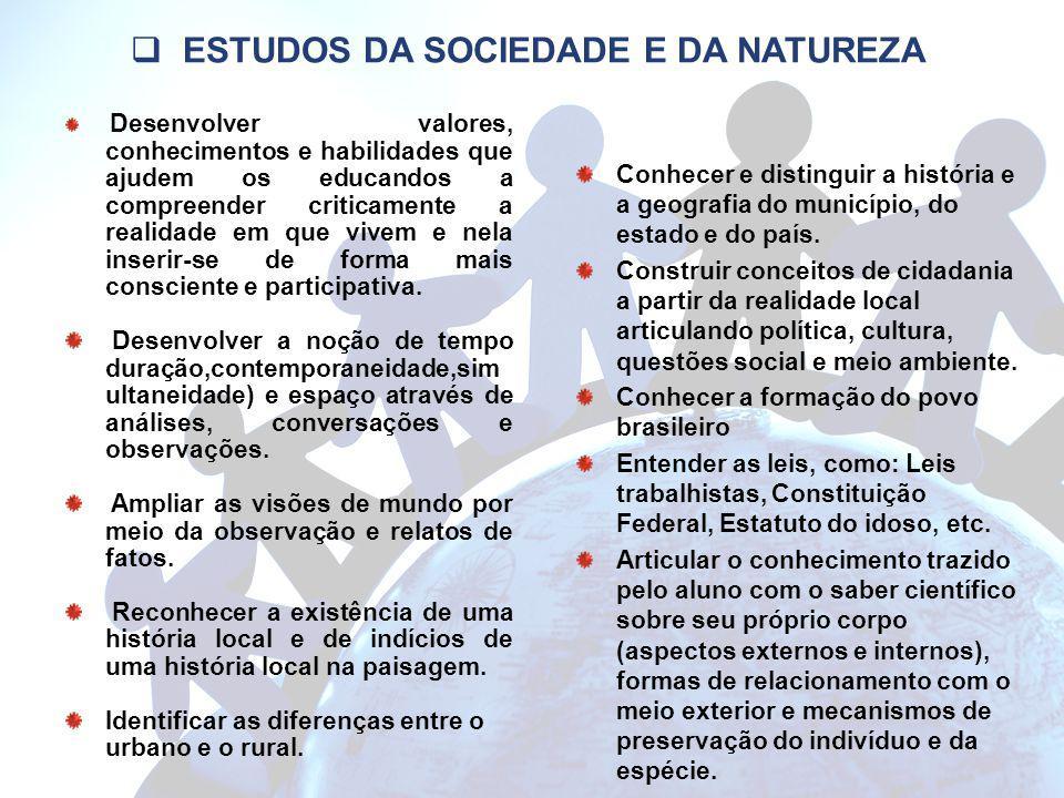 ESTUDOS DA SOCIEDADE E DA NATUREZA