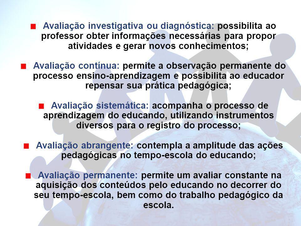 Avaliação investigativa ou diagnóstica: possibilita ao professor obter informações necessárias para propor atividades e gerar novos conhecimentos;