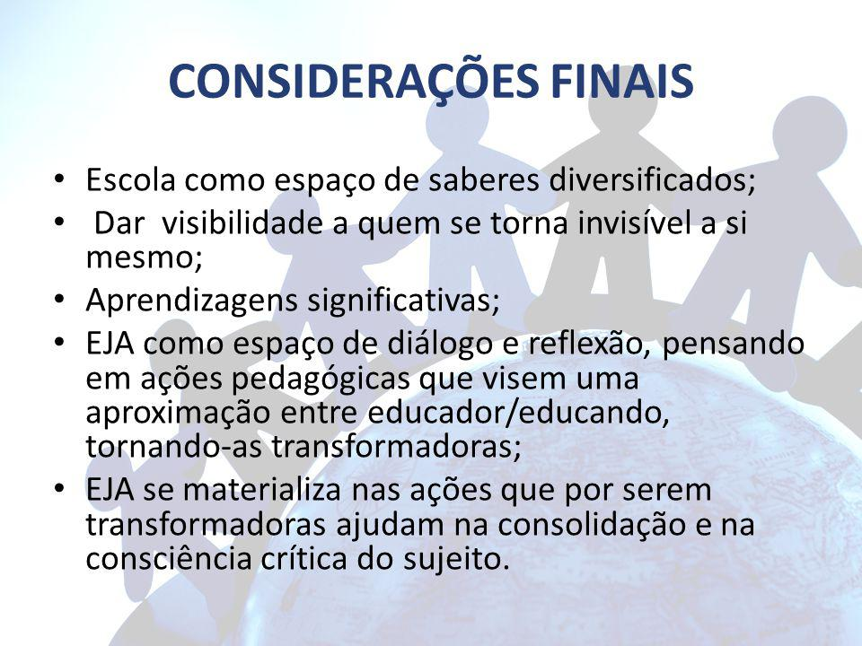 CONSIDERAÇÕES FINAIS Escola como espaço de saberes diversificados;