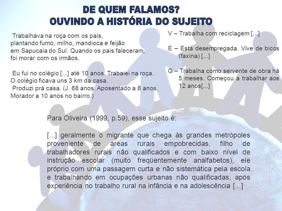 OUVINDO A HISTÓRIA DO SUJEITO