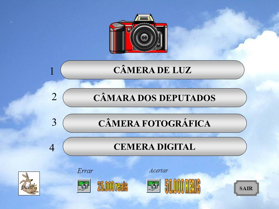 1 2 3 4 CÂMERA DE LUZ CÂMARA DOS DEPUTADOS CÂMERA FOTOGRÁFICA