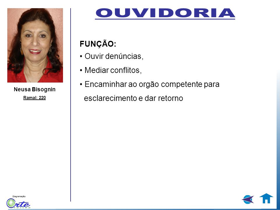 OUVIDORIA FUNÇÃO: • Ouvir denúncias, • Mediar conflitos,