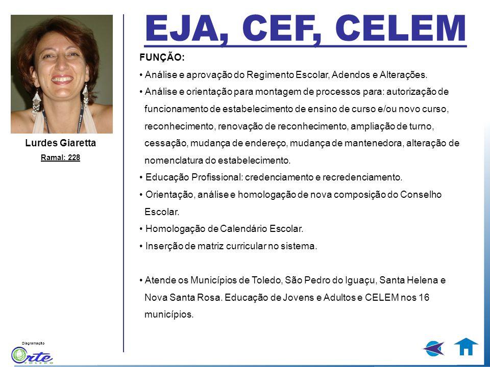 EJA, CEF, CELEM FUNÇÃO: • Análise e aprovação do Regimento Escolar, Adendos e Alterações.