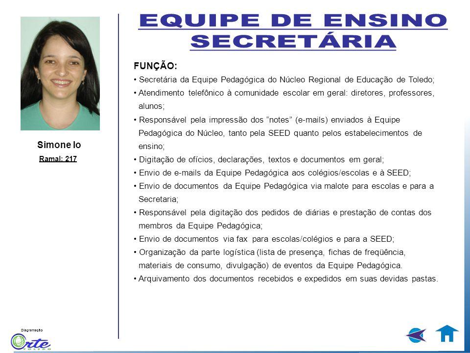 EQUIPE DE ENSINO SECRETÁRIA FUNÇÃO: Simone lo