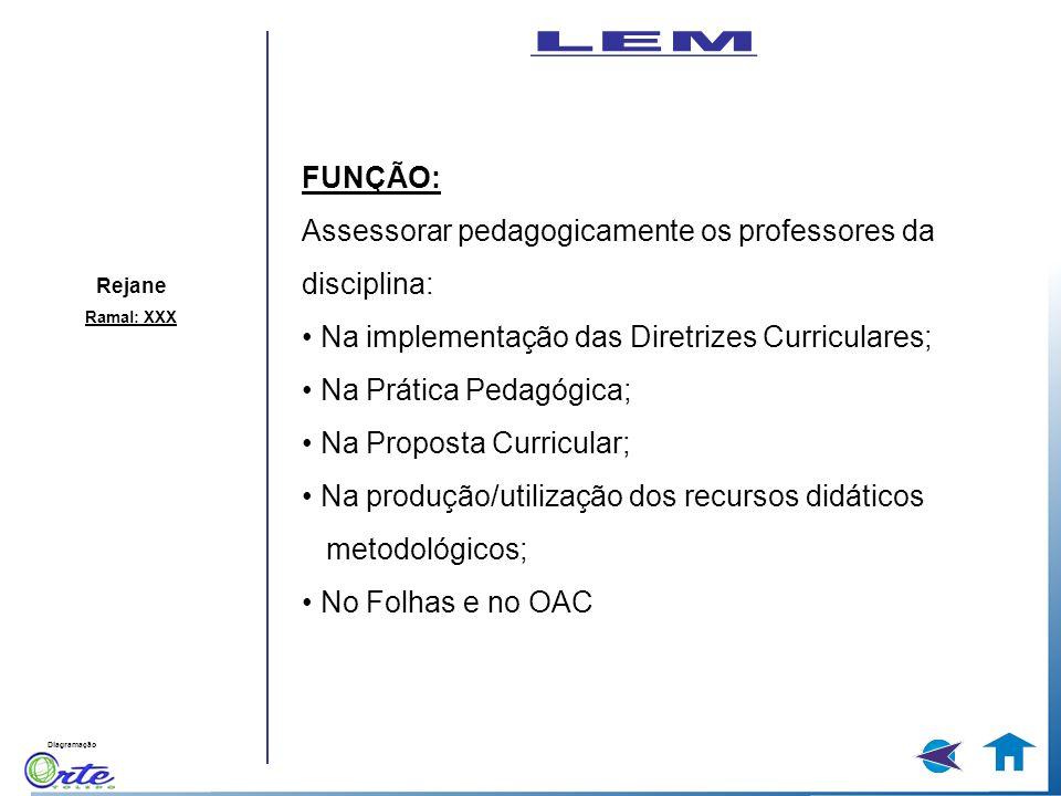 LEM FUNÇÃO: Assessorar pedagogicamente os professores da disciplina: