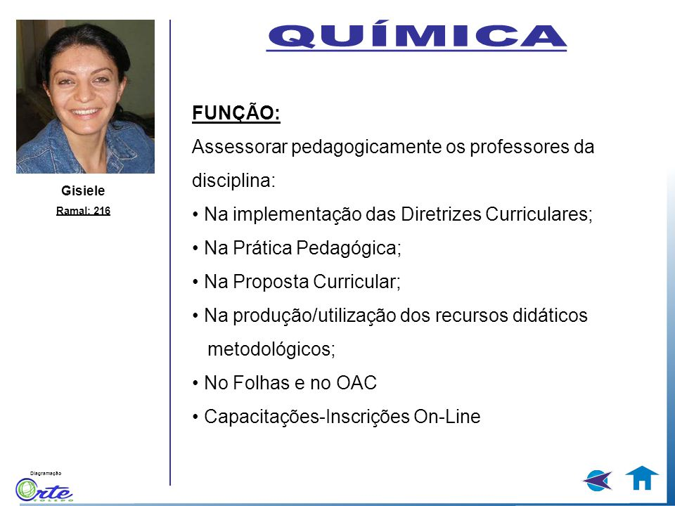 QUÍMICA FUNÇÃO: Assessorar pedagogicamente os professores da disciplina: • Na implementação das Diretrizes Curriculares;