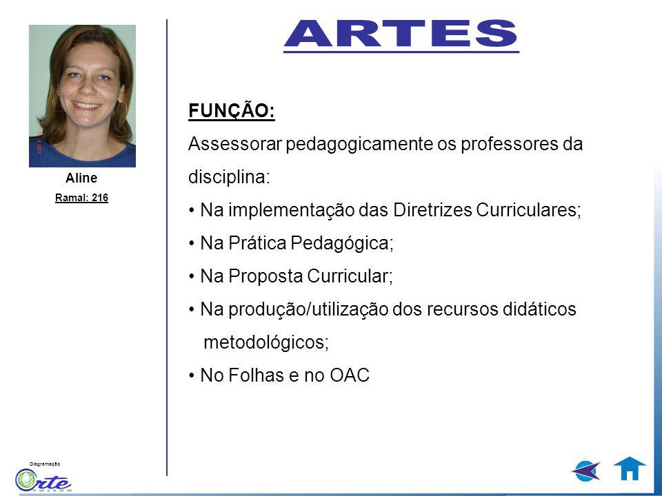 ARTES FUNÇÃO: Assessorar pedagogicamente os professores da disciplina: