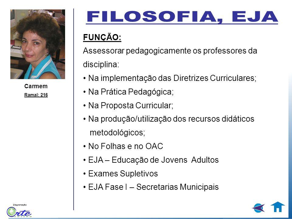 FILOSOFIA, EJA FUNÇÃO: Assessorar pedagogicamente os professores da disciplina: • Na implementação das Diretrizes Curriculares;
