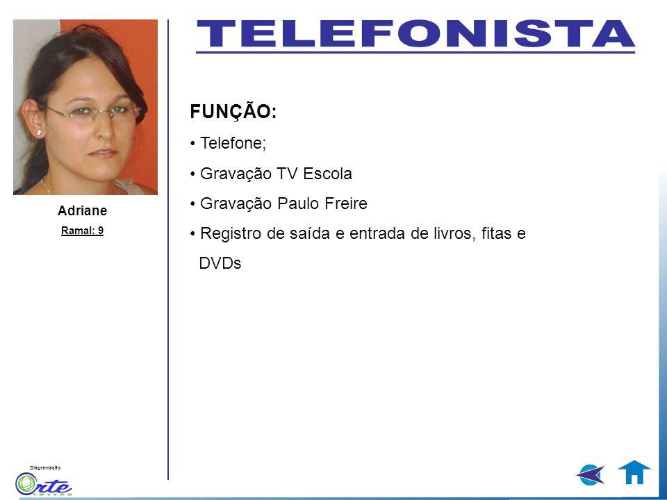 TELEFONISTA FUNÇÃO: • Telefone; • Gravação TV Escola