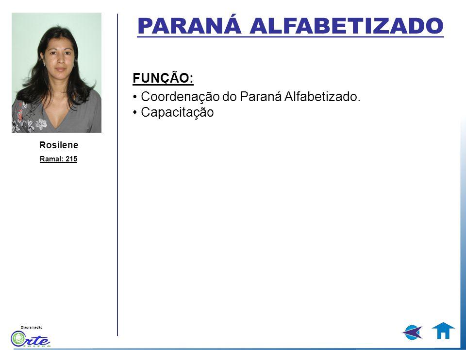 PARANÁ ALFABETIZADO FUNÇÃO: • Coordenação do Paraná Alfabetizado.