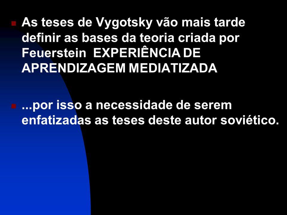 As teses de Vygotsky vão mais tarde definir as bases da teoria criada por Feuerstein EXPERIÊNCIA DE APRENDIZAGEM MEDIATIZADA
