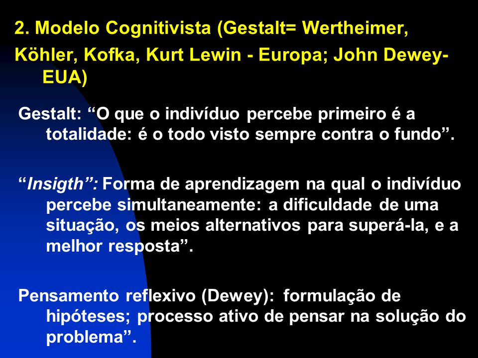 2. Modelo Cognitivista (Gestalt= Wertheimer,