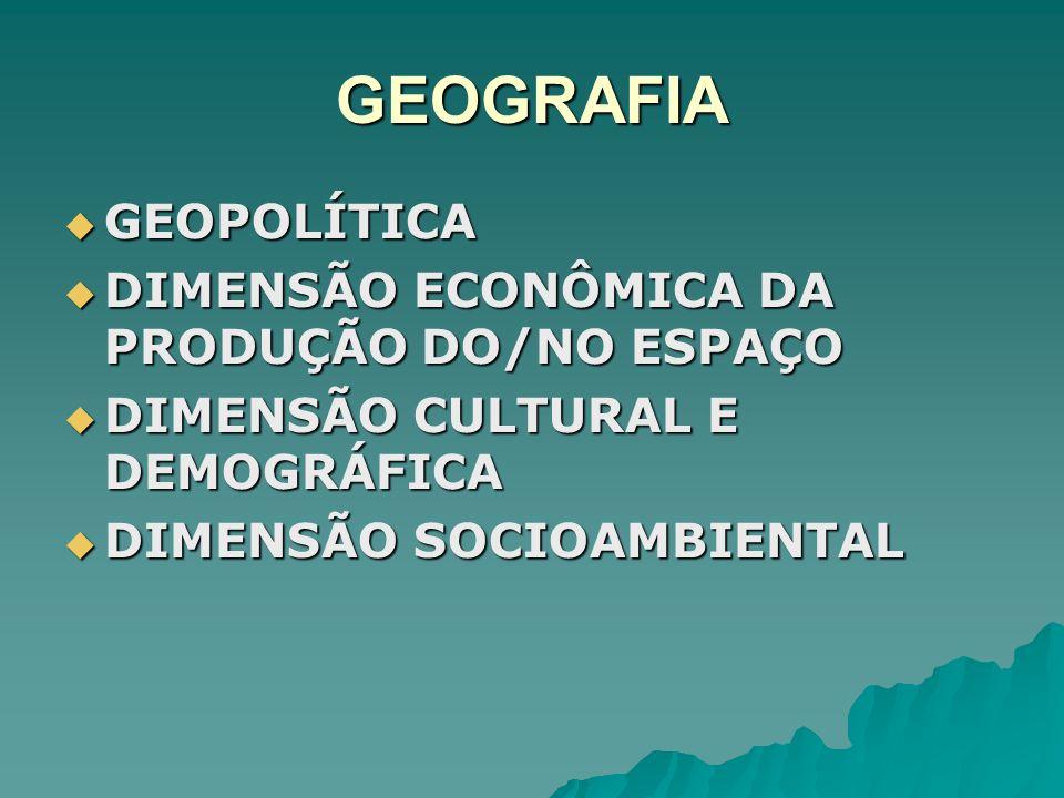 GEOGRAFIA GEOPOLÍTICA DIMENSÃO ECONÔMICA DA PRODUÇÃO DO/NO ESPAÇO