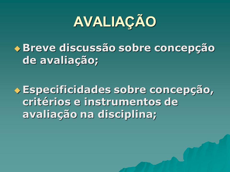 AVALIAÇÃO Breve discussão sobre concepção de avaliação;