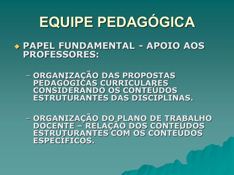 EQUIPE PEDAGÓGICA PAPEL FUNDAMENTAL - APOIO AOS PROFESSORES: