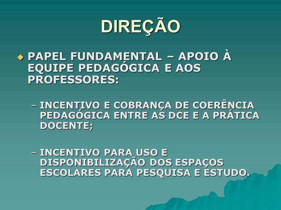 DIREÇÃO PAPEL FUNDAMENTAL – APOIO À EQUIPE PEDAGÓGICA E AOS PROFESSORES: