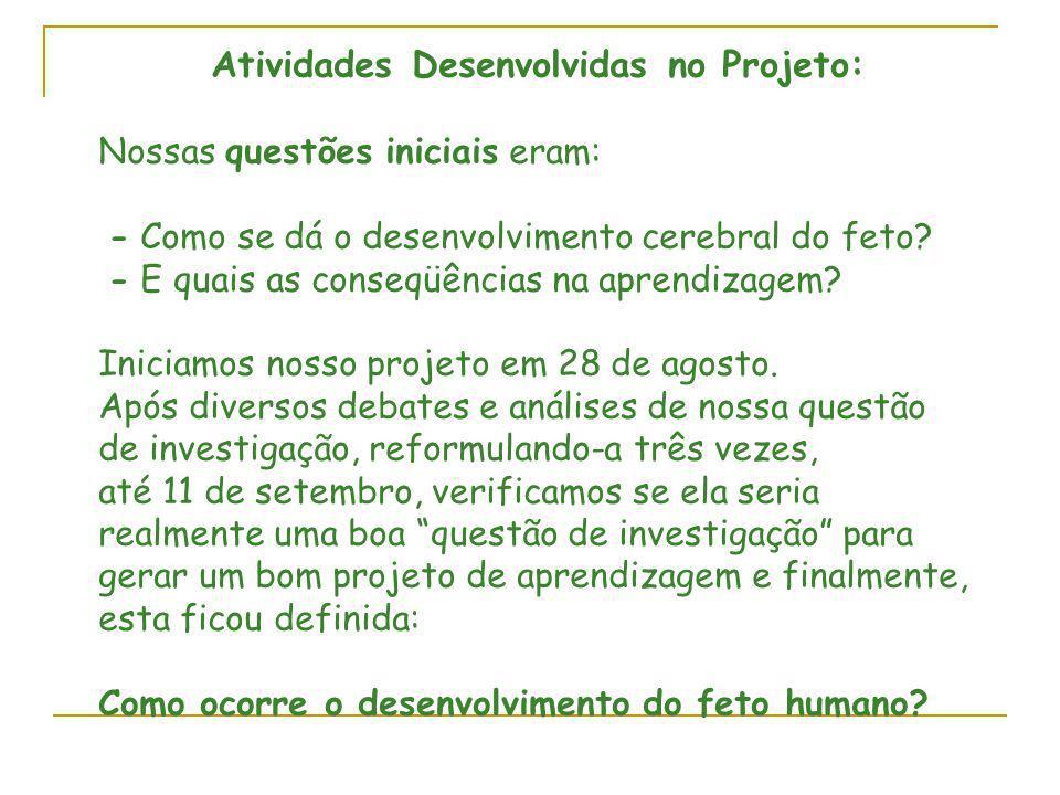 Atividades Desenvolvidas no Projeto:
