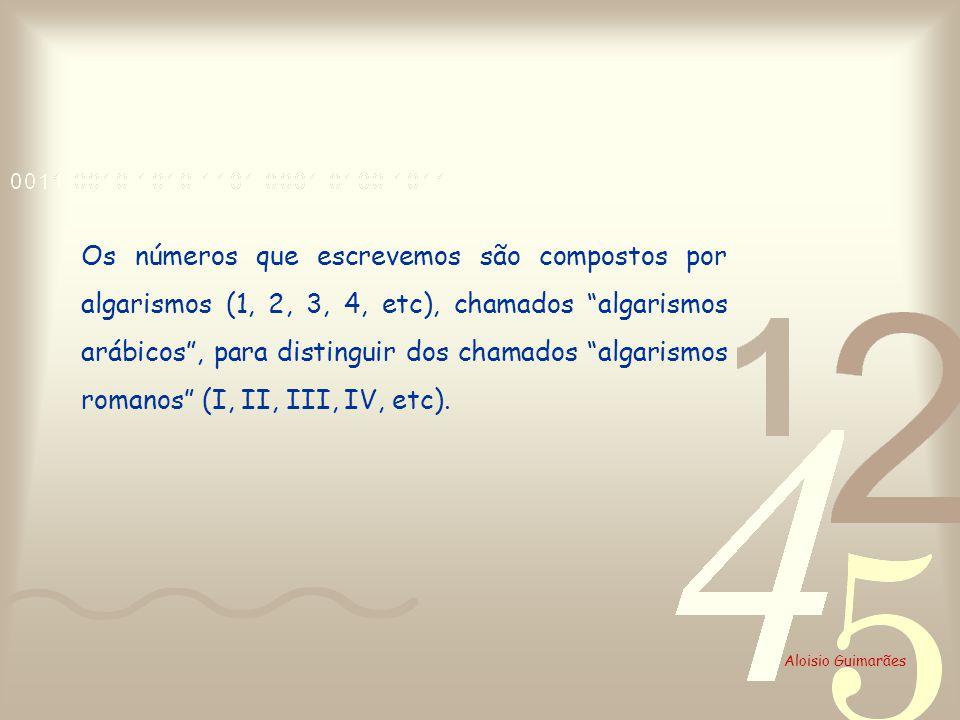 Os números que escrevemos são compostos por algarismos (1, 2, 3, 4, etc), chamados algarismos arábicos , para distinguir dos chamados algarismos romanos (I, II, III, IV, etc).