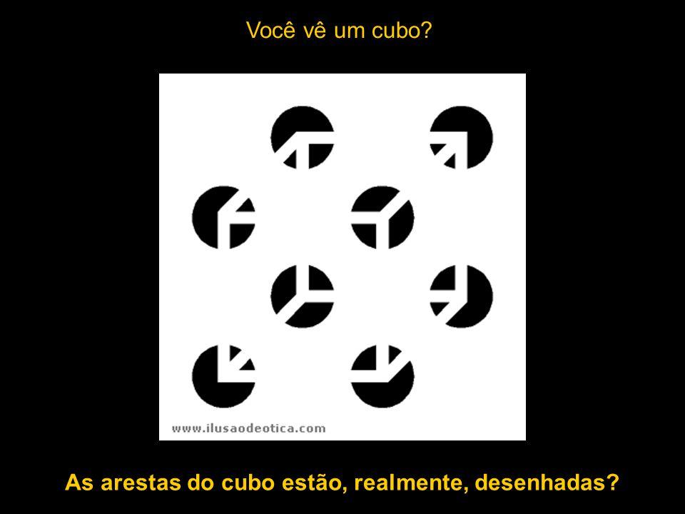 As arestas do cubo estão, realmente, desenhadas