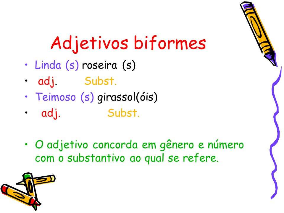 Adjetivos biformes Linda (s) roseira (s) adj. Subst.