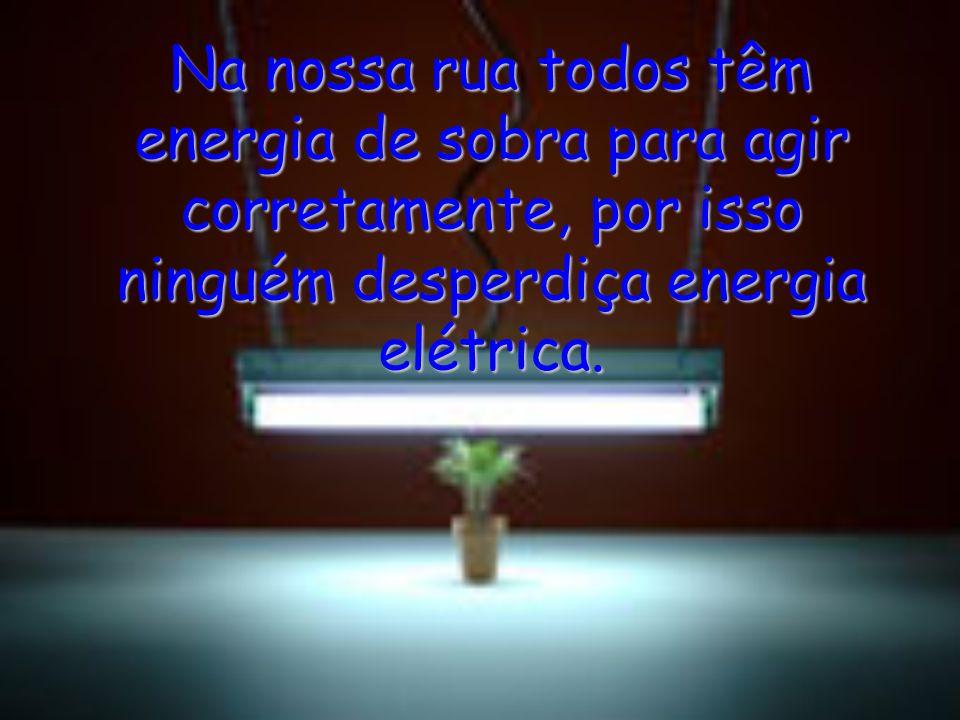 Na nossa rua todos têm energia de sobra para agir corretamente, por isso ninguém desperdiça energia elétrica.