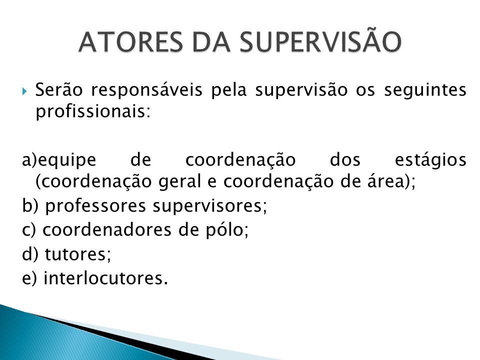 ATORES DA SUPERVISÃO Serão responsáveis pela supervisão os seguintes profissionais: