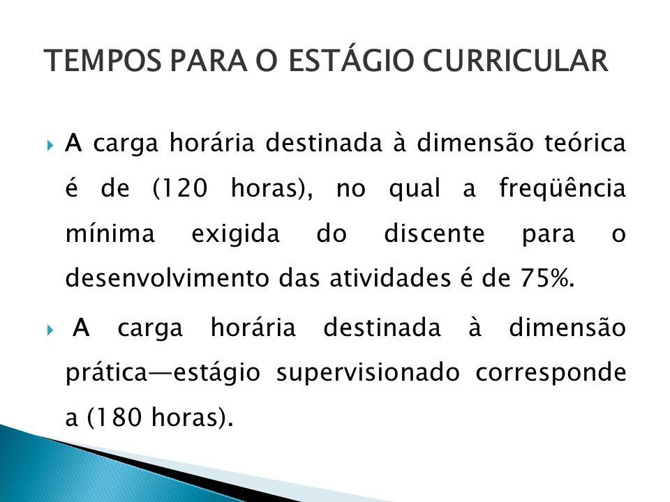 TEMPOS PARA O ESTÁGIO CURRICULAR