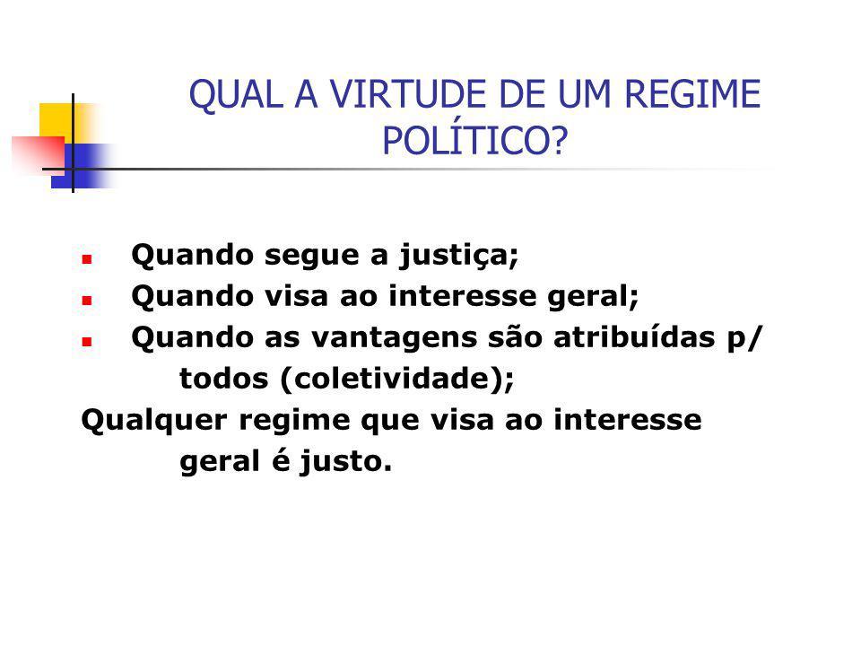 QUAL A VIRTUDE DE UM REGIME POLÍTICO