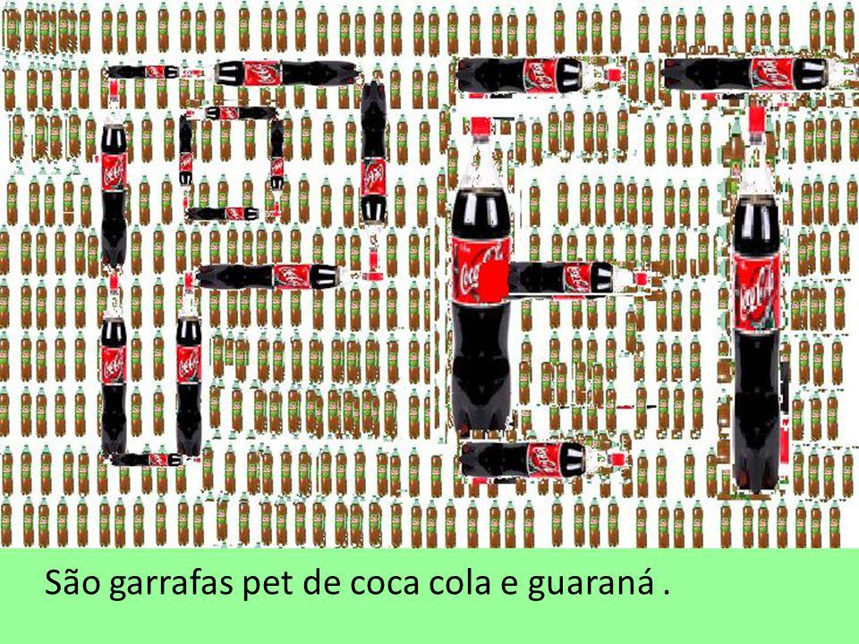 São garrafas pet de coca cola e guaraná .