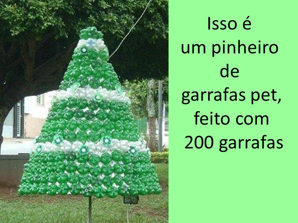 Isso é um pinheiro de garrafas pet, feito com 200 garrafas