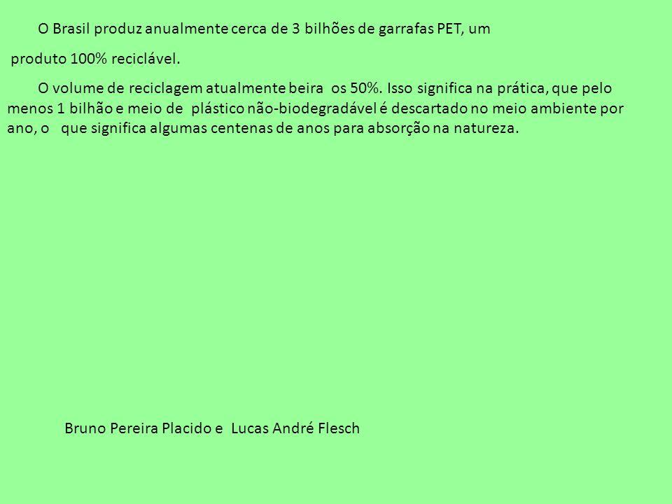 O Brasil produz anualmente cerca de 3 bilhões de garrafas PET, um