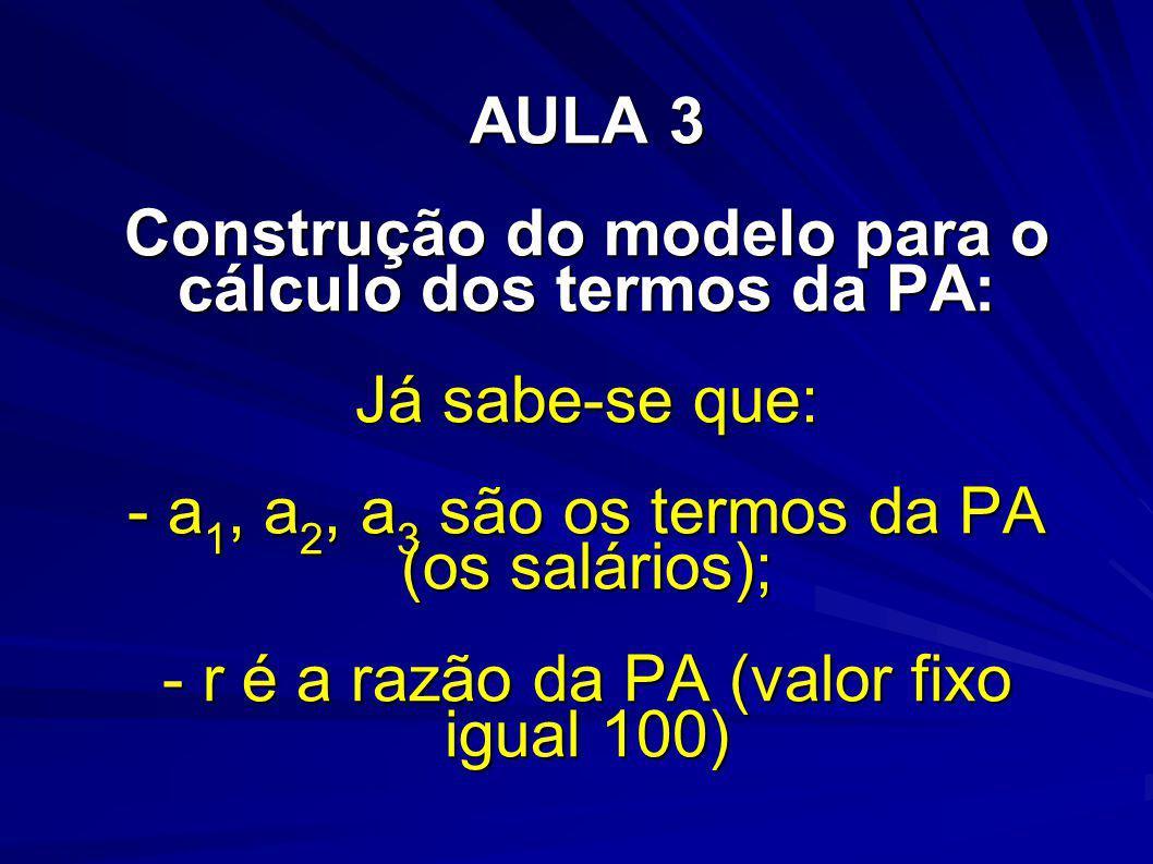 AULA 3 Construção do modelo para o cálculo dos termos da PA: Já sabe-se que: - a1, a2, a3 são os termos da PA (os salários); - r é a razão da PA (valor fixo igual 100)