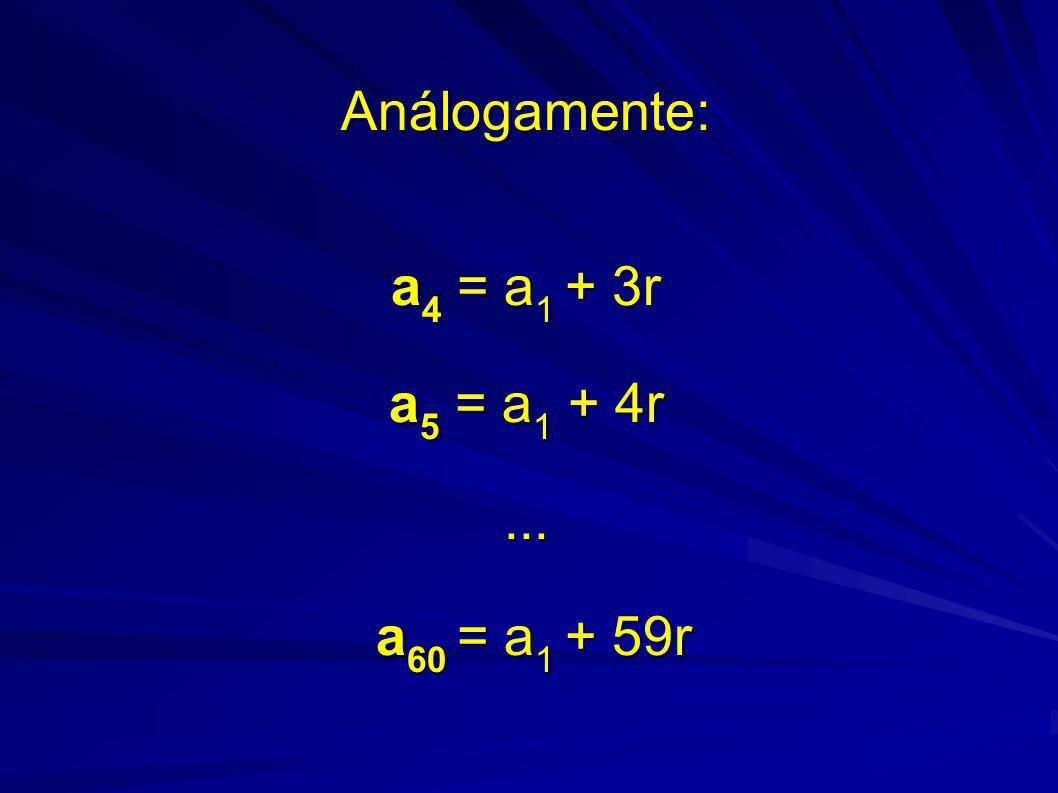 Análogamente: a4 = a1 + 3r a5 = a1 + 4r ... a60 = a1 + 59r