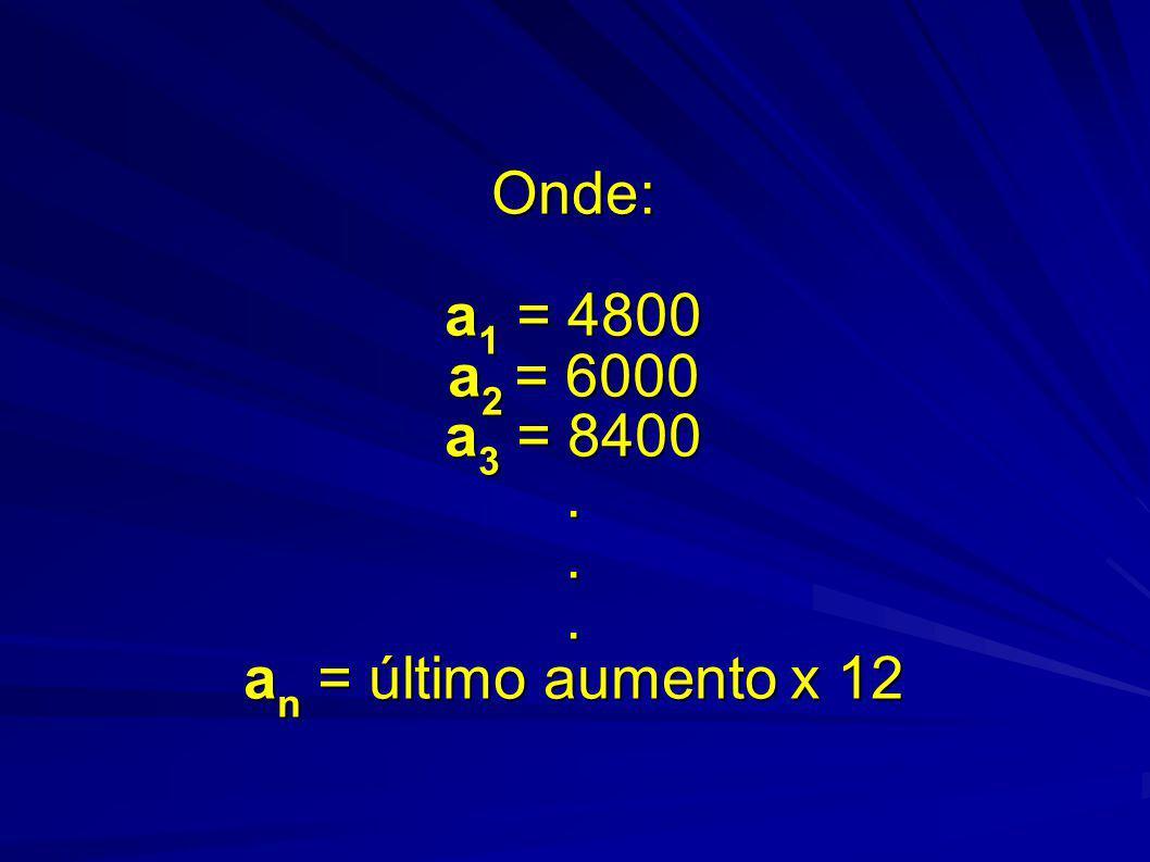 Onde: a1 = 4800 a2 = 6000 a3 = 8400 . . . an = último aumento x 12