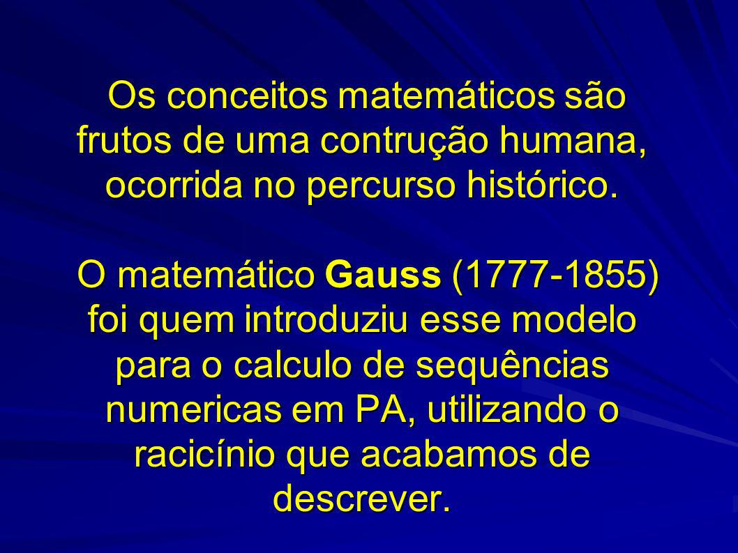 Os conceitos matemáticos são frutos de uma contrução humana, ocorrida no percurso histórico.