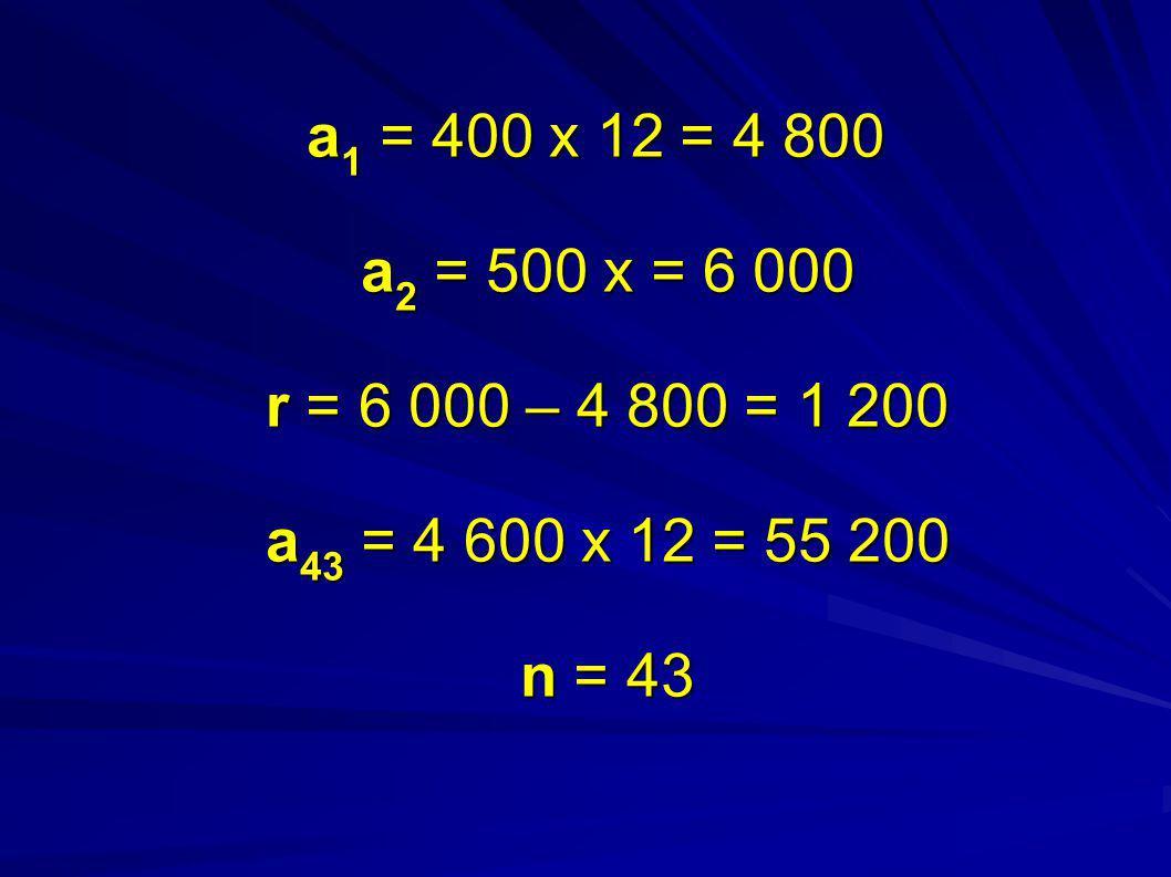 a1 = 400 x 12 = 4 800 a2 = 500 x = 6 000 r = 6 000 – 4 800 = 1 200 a43 = 4 600 x 12 = 55 200 n = 43