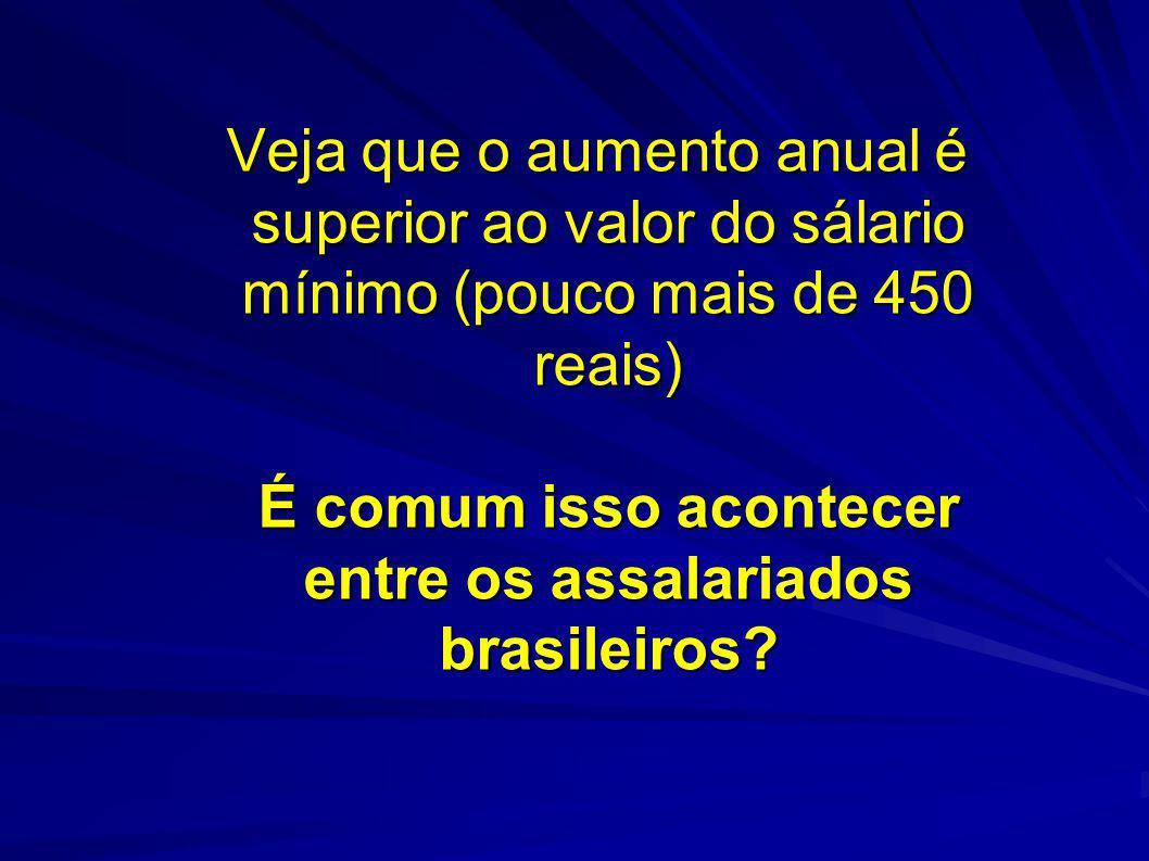 Veja que o aumento anual é superior ao valor do sálario mínimo (pouco mais de 450 reais) É comum isso acontecer entre os assalariados brasileiros