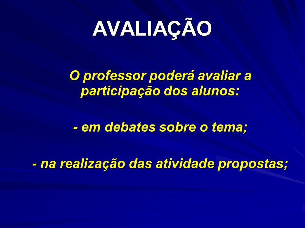 AVALIAÇÃO O professor poderá avaliar a participação dos alunos: