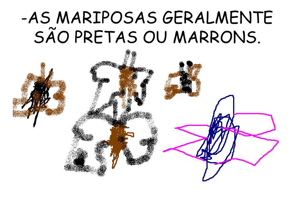 AS MARIPOSAS GERALMENTE SÃO PRETAS OU MARRONS.