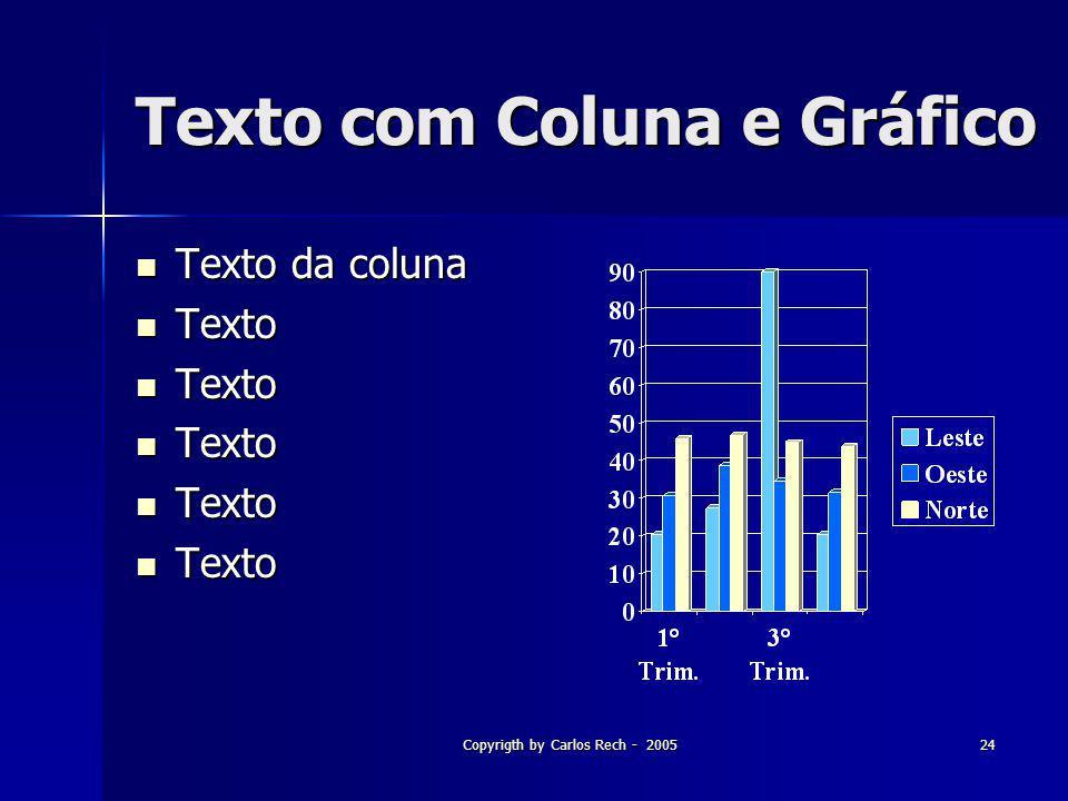 Texto com Coluna e Gráfico