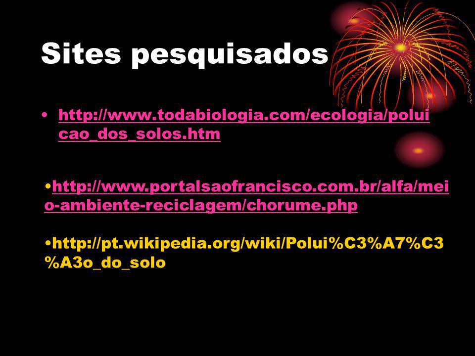 Sites pesquisados http://www.todabiologia.com/ecologia/poluicao_dos_solos.htm.